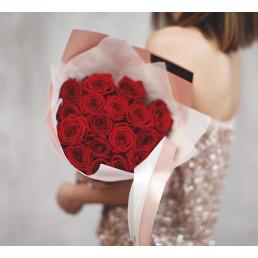 15 красных роз 50 см Эквадор