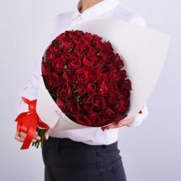51 красных роз 40см Кения