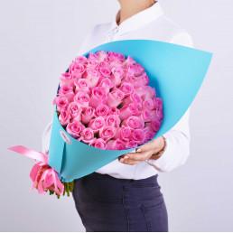 51 розовых роз 40см Кения