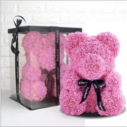 Мишка из роз розовый с бантиком 40 см в коробке