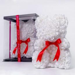 Мишка из роз белый с бантиком 40 см в коробке