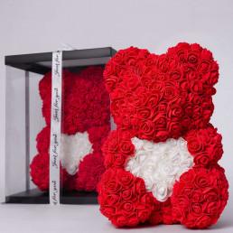 Мишка из роз, красный с сердцем 40 см в коробке