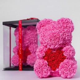 Мишка из роз, розовый с сердцем 40 см в коробке
