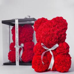 Мишка из роз красный с бантиком 40 см в коробке