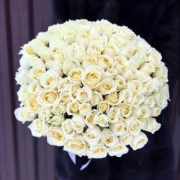 101 белая роза 40 см Кения