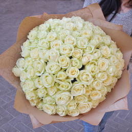 101 белая роза 50 см Кения