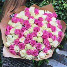 101 белая и розовая роза 40 см Кения