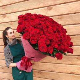 101 красная роза 100 см Эквадор