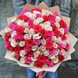 101 роза МИКС 40 см Кения
