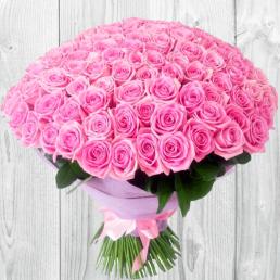 101 розовая роза 70 см Эквадор