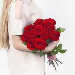 Букет из 11 красных роз 70 см Эквадор