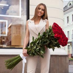 Букет из 15 красных роз 100 см Эквадор