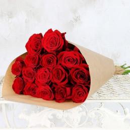 Букет из 15 красных роз  50 см Кения