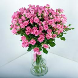 15 розовые кустовые розы 50 см