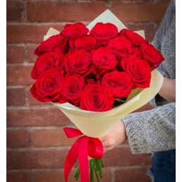 Букет из 15 красных роз 50 см Эквадор