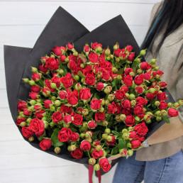 25 красных кустовых роз 50 см