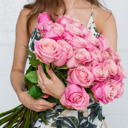 Букет из 25 розовых роз 70 см Эквадор