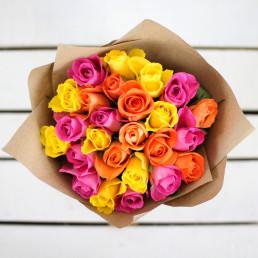 Букет 25 розовых роз МИКС 40 см Кения
