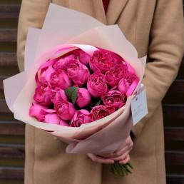 Букет из 25 пионовидных розовых роз 40 см