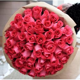 51 розовая роза 50 см Эквадор