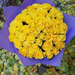 51 жёлтая роза 40 см Кения