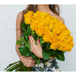 51 жёлтая роза 70 см Эквадор