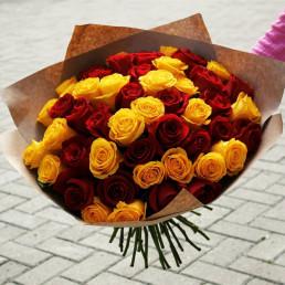 51 жёлто-красная роза 40 см Кения