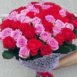 51 красная и розовая роза 40 см Кения