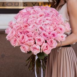 51 нежно-розовые розы 40 см Кения