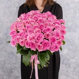 Букет из 51 розовой розы 50 см Кения
