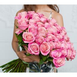 Букет из 51 розовой розы 70 см Эквадор