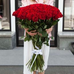 Букет из 35 красных роз 100 см Эквадор