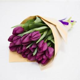 15 фиолетовых тюльпана